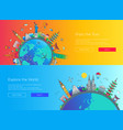 flat design web page travel banners set vector image vector image