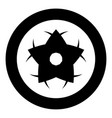 flower icon black color in circle or round vector image vector image