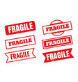 fragile rubber stamps in different styles set vector image