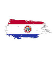 grunge brush stroke with paraguay national flag vector image vector image