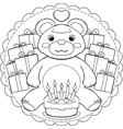 happy birthday teddy bear mandala vector image vector image