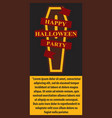 happy halloween coffin red ribbon poster vector image