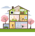 house in cut detailed interior set rooms vector image