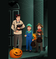 little kids wearing halloween costumes vector image