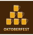 Oktoberfest Six beer glass mug pyramid Flat vector image vector image