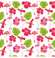 pattern monstera leaves flamingo flowers vector image vector image