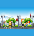 people in the urban town vector image vector image