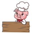 pig chef holds a sign vector image vector image