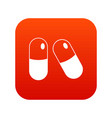 pills icon digital red vector image vector image