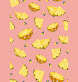 pineapple fruits slice seamless pattern on pink vector image vector image