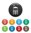 rescue tower icons set color vector image vector image