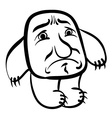 Sad cartoon monster black and white lines vector image vector image