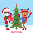 Santa Claus and reindeer are celebrating Christmas vector image vector image