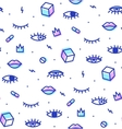seamless pattern in style psychedelic eyes vector image