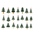 set different fir trees tree merry christmas vector image vector image