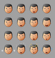 set of businessman emoticons showing different fac vector image