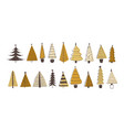 set various firs pines or spruces decorated vector image