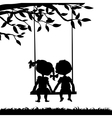 Silhouettes of boy and girl vector image vector image