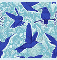sketch pattern with hummingbirds and vector image