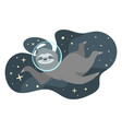 sloth floating in cosmic space vector image