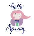 spring girl portrait with flower bouquet vector image vector image