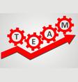 team concept - gear climb up the arrow vector image vector image