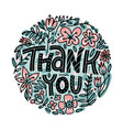 thank you greeting card with hand lettering vector image