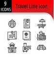 travel line icon vector image vector image
