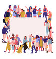 trendy people banner crowd happy men and women vector image vector image