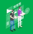 virtual reality man and woman with futuristic vector image vector image