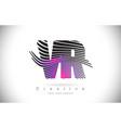 vr v r zebra texture letter logo design vector image vector image