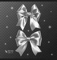 white realistic bows on a transparent vector image