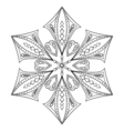 Zentangle elegant snow flake for adult coloring vector image vector image