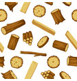 seamless pattern with wood logs trunks and planks vector image