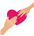 Woman and man hands on the background with heart vector image