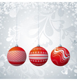 grey christmas card with three ball vector image