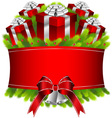 Merry christmas and happy new year red gifts vector image
