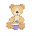 Teddy bear with cup cake vector image