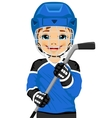 A young hockey player in uniform vector image