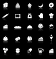 Bakery icons with reflect on black background vector image