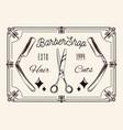 barbershop tools dangerous razor scissors vector image