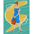 Beautiful woman in retro dress vector image