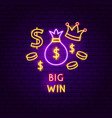big win neon label vector image vector image
