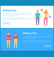 birthday party web posters set with men and women vector image vector image