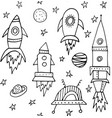 black and white cosmic seamless pattern rocket vector image vector image
