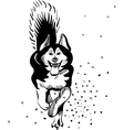 black and white sketch of a sled dog alaskan malam vector image vector image