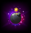 black round bomb with burning wick icon for slot vector image