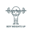 boy weights up line icon boy weights up vector image vector image
