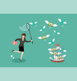 business woman trying to catch flying money vector image