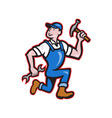 Carpenter Builder Hammer Running Cartoon vector image vector image